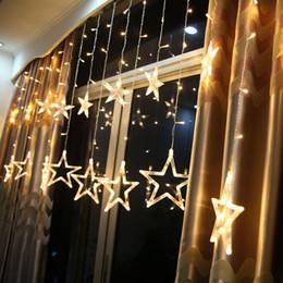 6W 138 LEDs 2m 6.6ft Fairy Star Light 12 Stars Window Curtain String Light  Fairy Wedding Led Icicle Light