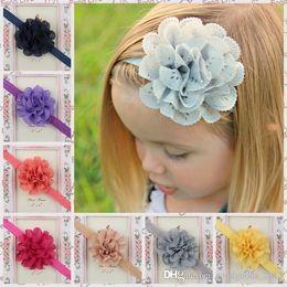 Wholesale 50 PC accesorios del pelo del bebé de la flor hueco de pulgadas a mano borde ondulado de malla niños lindos hairband color de accesorios de fotografía B412