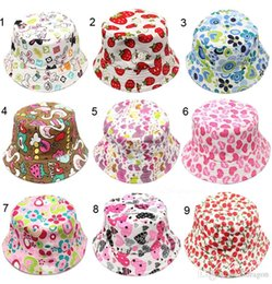 Wholesale Free DHL Hot Bucket sun hat for kids Children floral Hats colors baby girls fashion Grass Fisherman Straw hat