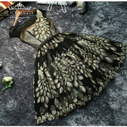 Wholesale Cheap Under Short Prom Dresses Fast Shipping Chic Peacock Sheer Scoop Sexy Backless Homecoming Party Dress Gowns Custom Made
