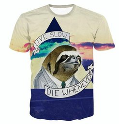 2017 live t shirts Raisevern New Fashion 3D T-shirt Sloth Motto T Shirt Live Slow Die Whenever Animal Brand Design Clothes Women Men 3d Tee Tops live t shirts deals