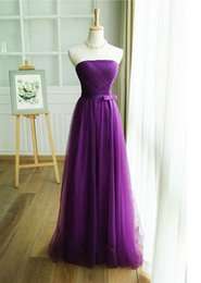 Wholesale Purple Long Maid of Honor Dress On Wedding Party Pleat Elegant Formal Evening Dresses Strapless A Line Tulle Prom Dress Gown
