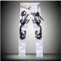 Wholesale 2017 Moda Otoño blanco impreso jeans para hombres de alta calidad elástico Vaqueros ajustados pantalones ocasionales de los hombres más el tamaño de ropa vaquera para hombre global
