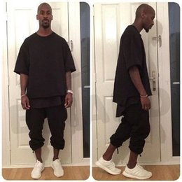 Wholesale NEW TOP kanye west Fashion men t shirt Hip hop trends clothes fear of god urban extended oversized t shirt Solid color Arc Tee L227
