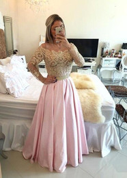 Wholesale Arabic Illusion Lace Long Sleeves Evening Dresses Robe Gold Lace Beaded A Line Party Dresses Vestidos Prom Dresses
