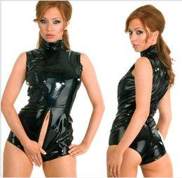 Wholesale Sexy Shorts Zipper Womens Erotic Jumpsuit PVC Faux Leather Catsuit Stripper Pole Leotard Skeleton Bodysuit Club Costumes Outfits