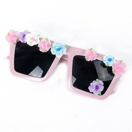 handmade rose flower square frame uv beach sunglasses eyeglasses eyewear pink free shipping drop shipping