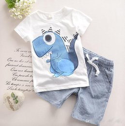 2016 Cute Baby Kids Clothing Adorable Boys Outfits Short Sleeved Dinosaur Tops + Striped Shorts 2pcs Child Sets Cotton Suits Clothes from baby boys preppy outfit manufacturers