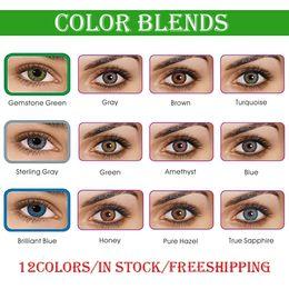 Frete Grátis por DHL necessidade 3-5 dias úteis Ready Stock 3-tone lentes de contato colorblend fresco Venda por atacado Contactos 1 par = 2 peças