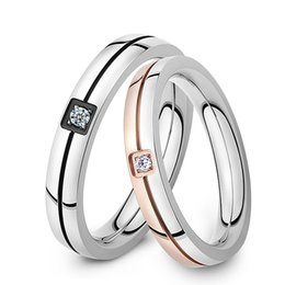 2016 new classical fashion lovers wedding rings simple design stainless steel crystal stone finger bands jewelry cheap price - Wedding Ring Design