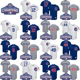 Campeones de la serie de mundo 2016 remiendo Chicago Cubs # 17 Kris Bryant 44 Anthony Rizzo 9 Javier Baez 49 Jake Arrieta Jersey Jersey
