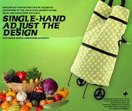 Wholesale Hot Folding Reusable Portable Supermarket Shopping Cart Bag Dots Lightweight Effortless Trolley Handles Luggage with Wheels