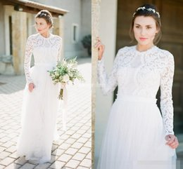 Wholesale Sheath Long Sleeve Lace Wedding Dresses Long Tulle Appliqued Vintage Grecian Bohemia Outdoor Country Bridal Wedding Gowns Plus Size