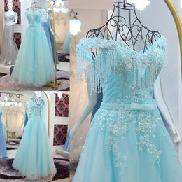 Wholesale 2016 Bateau Women Light Sky Blue Evening Dress Short Sleeve Lace up With Stain Wow Floor Length Beaded Prom Party Gowns
