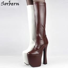 1b642a47451 Sorbern Sexy Thick Platform Boots Women Soft PU Knee-High Long Boots 20cm  Extreme High Heel Round Toe Platform Heel Exotic Fetish Sexy Shoes