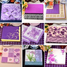 online shopping Fancy Purple Series Flower Panting Biodegradable Paper Napkin for Wedding Party Lady Favor Disposable Paper Supplies DEC083
