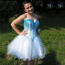 Wholesale 2016 Stunning Plus Size Homecoming Dresses White Organza Crystals Embellished Corset Top Short Graduation Prom Party Gowns Custom Made
