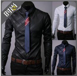 Wholesale 3 colors silk shiny mens shirts long cool shirts for men mens dress shirts designer