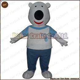 Wholesale Costume de mascotte d ours polaire la livraison libre adulte de bande dessinée de mascotte d ours blanc de peluche de haute qualité de qualité accepte l ordre d OEM