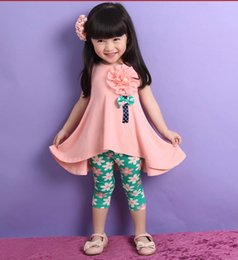 Wholesale 2016 Girls Chiffion Sleeveless Clothes set Summer Girls Vest Floral Legging Clothing suit Princess Clothing COLORS