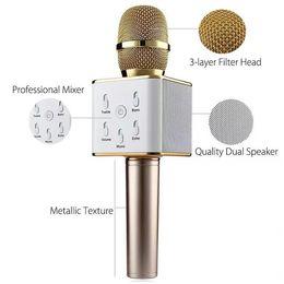 Q7 Haut-parleur sans fil Microphone Bluetooth avec 2600mAh grande capacité Haut-parleur karaoké pour Iphone7 plus Samsung