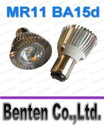MR11 de 35 mm B15 BA15d B15d de contacto sola bombilla luminosa LED de 3W blanco cálido rojo verde azul amarillo colores de luz de las luces de la joyería del bulbo del punto 12V Lampl