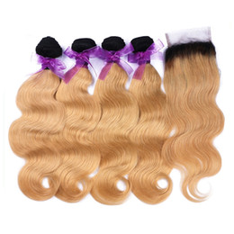 2017 ombre human hair wave 1B 27 Honey Blonde Ombre Human Hair 4 Bundles With Lace Closure Two Tone Colored Hair Weave With Closure Body Wave 5Pcs Lot inexpensive ombre human hair wave