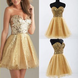 Wholesale Cheap Short Gold Homecoming Dresses Sequins Sweetheart Backless Girls Prom Party Cocktail Gowns Under In Stock SD032