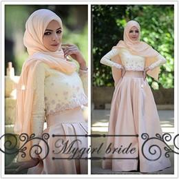 Wholesale Two Pieces Muslim Evening Dresses With Sleeves kaftan abaya Long Dubai Dress Custom Made formal Gowns
