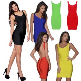 Wholesale PrettyBaby fashion hot sale women Summer Sexy sexy Bandage dress tight package hip sculpting soild colour Backless dress colors Free dhl