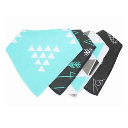 Wholesale 4pcs Baby waterproof triangle towel bibs Pure cotton girls boys double layer triangular towel Drool Bib burp clothes