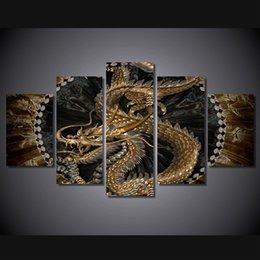 5 шт / комплект Нет подставил HD Печатный животных Дракон Искусство Живопись Холст печати декор комнаты печать плаката картина большие картины холст
