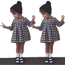 Wholesale 2016 Lovely Baby Kids Toddler Girls Princess Long Sleeve Checked Shirt Dress Party plaid Skirts