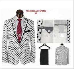 Wholesale 2016 hot sale high quality fashion brand Polka Dot men dress suits party suits wedding suits white black color jacket pant tie