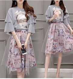 Wholesale 2016 New Summer Women Clothing Casual pullover Tops Skirt Set Big Girl Skirt Set Women Clothing New Arrival Pinting Set VA219