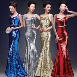 Wholesale New Arrival Sexy Off Shoulder Mermaid Bride Toast Clothing Bling Bling Sequins Host Dresses Party Evening Dresses