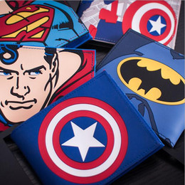 online shopping Cartoon Superhero Wallet The Avengers Figures Wallets School Student Wallet Purse Superman Wallet Car Hold PU Leather Wallet Gift For Kids