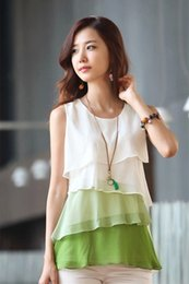 Wholesale 2016 Summer New Sleeveless Chiffon Blouses Shirts For Women Casual Loose Irregular Gradient Plus Size Vests Tops S XXL