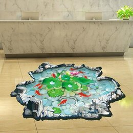 Wholesale 3D Lotus Fish Water Pool Through The Floor Stickers Room Decor Home Decals PVC Wall Art Poster