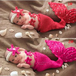 Wholesale Newborn Baby Infant Crochet Knitting Costume Soft Adorable Clothes Mermaid Style Photo Photography Props Headband Outfit for Month D046
