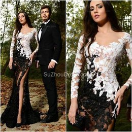 Wholesale 2016 Sexy See Through Long Sleeves Split Mermaid Evening Dresses Black and White Lace Lace Appliques Beaded High Sheer Party Prom Gowns