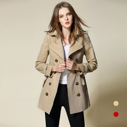 Wholesale Brand New Star Same Style Trench Coat Mid Long Khaki Red Women Coats Cotton European American Top Fashion Casual Girl Clothing BUR1687