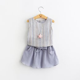 Wholesale Everweekend Summer Baby Girls Sets Stripe Vest Top Blouse Clothing Tie Pockets Ruffles Skirts Outfits