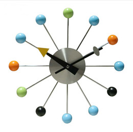 2016 popular designer beautiful modern luxury home decorative wooden balls wall clock 13 inch creative luxurious korean style candy color