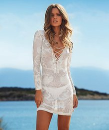 Wholesale Sexy White Bikini Swim Blouse Suit Cover Up Cover Ups Women Hollow Out Sweater Oversized Beach Dress Beach Wear Summer Swimwear