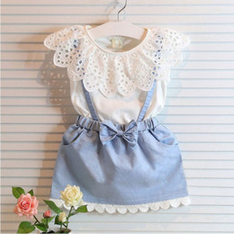 Wholesale Girl Lace bowknot braces denims dress suits Summer Chiffon Lace cotton Sleeveless T shirt Short skirt dress suit baby clothes B001