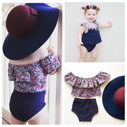 online shopping INS baby outfits kids Horizontal neck Floral Wood ear short sleeve T shirt Triangle pp pants sets baby clothes cotton suit C1092