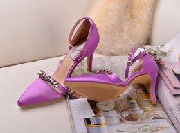 Wholesale Oficina de cristal del Rhinestone de señora Women Zapatos dedos apuntando correa del tobillo Tacones altos sandalias de cuero del verano fiesta de la boda CM SZ Bomba
