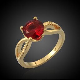 New Korean Nice Wedding Jewelry 18K Real Gold Vacuum Plating Rings Women  Big Ruby Jewelry Factory Cheap Price