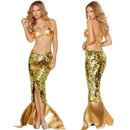 Wholesale Women Sexy Gold Faux Leather Shiny Sequined Mermaid Dress Costume Party Clothes Bra Skirt Set DY0243